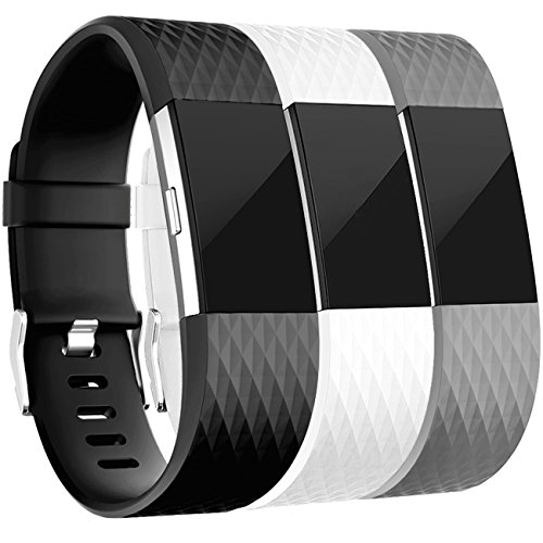 Replacement Bands for Fitbit Charge 2, 3-Pack Fitbit Charge2 Wristbands, Small, Black, Gray, (3 Pack Wristband)