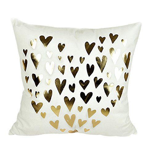 MHB Gold Foil Heart Throw Pillow Cover Decorative Accent Pillows 18 x 18 Inch (Foil First Day Cover)