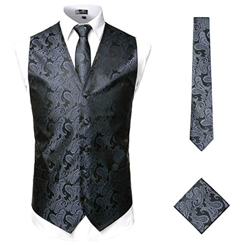 ZEROYAA Men's Classic 3pc Paisley Jacquard Vest Set Necktie Pocket Square Set for Suit or Tuxedo ZLSV14 Charcoal - Tuxedo Charcoal Gray