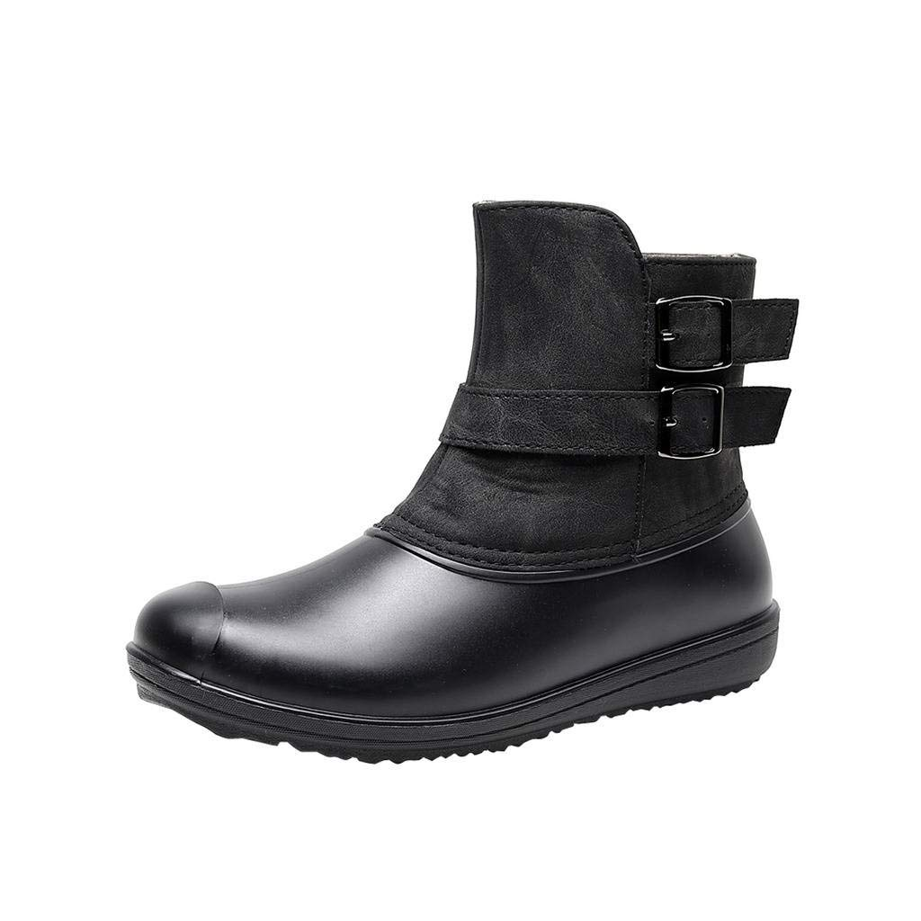 Black Women's Waterproof Winter Snow Boots PU Rubber Rainboots