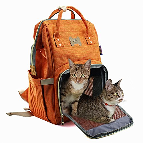 Pet Backpack Carrier for Cats and Puppy Dogs Travel Backpack Soft Sided Carry Bag with Breathable Mesh Window for Outdoor Hiking Camping Biking Cycling