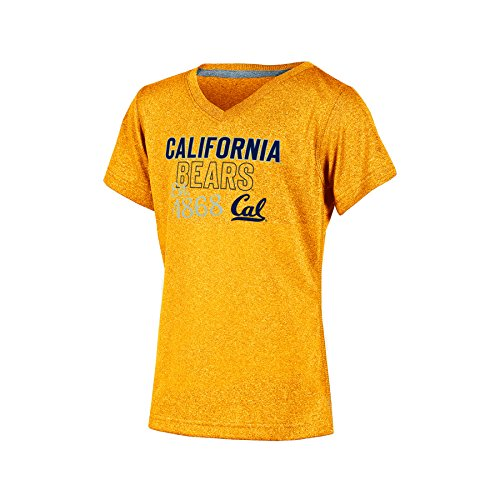 (Champion NCAA California Golden Bears Girl's Short Sleeve V-Neck T-Shirt, Large, Gold Heather)