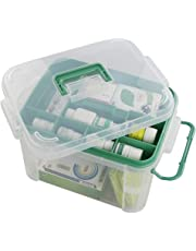 Qsbon 1-Pack Clear Storage Box Container, Family First Aid Box Medicine Box Organizer