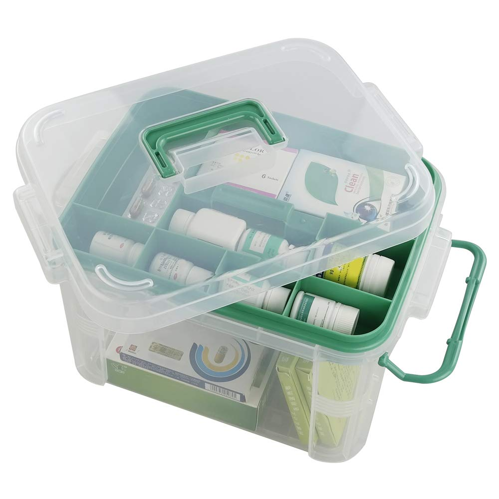 Qsbon Clear Storage Box Container, Family First Aid Box Medicine Box Organizer by Qsbon