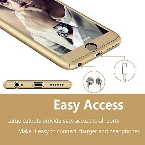 iPhone 6 Plus Case, DecaStars [Ultra-thin Series] 2-in-1 Full-body Protective Back Cover [Slim Fit] with Tempered Glass Screen Protector for Apple iPhone 6/6s Plus Case 5.5″ – Gold