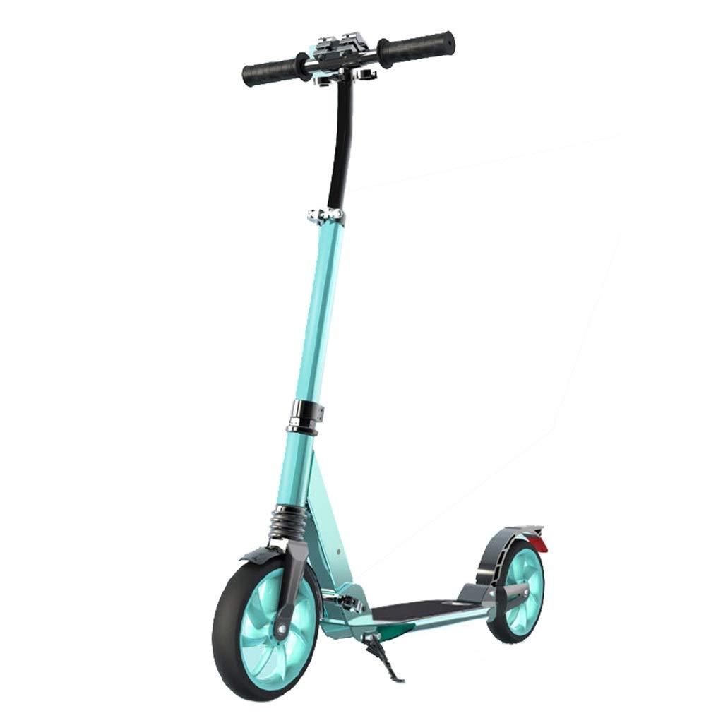 キックボード キックスクーター 大人の十代の若者たちのための携帯用折り畳み式の蹴りのスクーター、黒、40mmの大きい車輪が付いている黒い緑の自己動力を与えられたスクーター、アルミニウム、100kg (色 : A) B07QQYH7DP B B