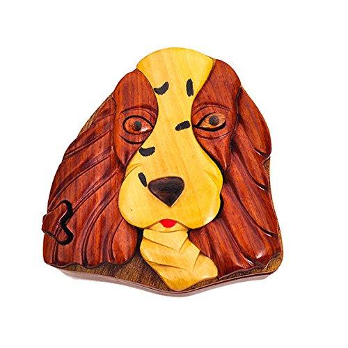 Handmade Wooden Art Intarsia TRICK SECRET Springer Spaniel Dog Puppy Puzzle Trinket Box (3314) (g2)