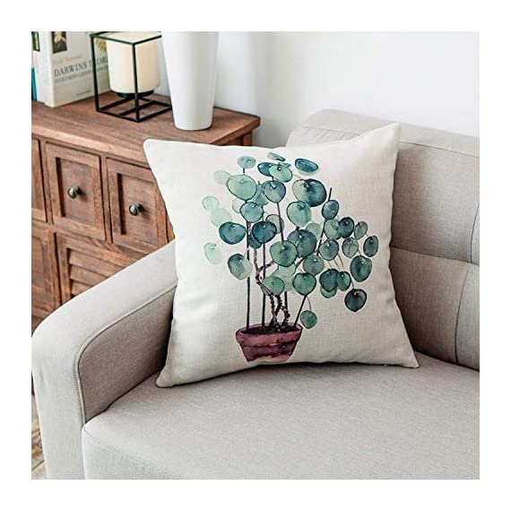 YeeJu Set of 4 Green Plant Throw Pillow Covers Decorative Cotton Linen Square Outdoor Cushion Cover Sofa Home Pillow Covers 18x18 Inch - ELEVATE YOUR ROOM DECOR! Let these attractive green plants throw pillow covers add a freshness, dynamic, fashionable and cozy feel to your life atmosphere. Definitely these amazing 18X18 Inches throw pillow covers will be your Home Highlights! YOUR COMFORT IS OUR TOP NOTCH! With fantastic moisture absorption and wet dissipation, our 100% natural cotton linen is the perfect fabric for cushion cover or sofa throw pillow cases. As the premium comfort eco-friendly material, it offering the most restful relaxation, breathable cool touch in summer and warm touch in winter. DETAILS HIGHLIGHT THE QUALITY! Soft, breathable, textured made with color matching, invisible zipper, allows easy insertion and removal of pillow inserts. All fabric edges are sewn with overlock stitch to prevent fray and ensure the cushion case holds shape over time.Printed with healthy and environment friendly water-based ink, unfading, no stimulation to skin. - patio, outdoor-throw-pillows, outdoor-decor - 51dhUrj9eDL. SS570  -