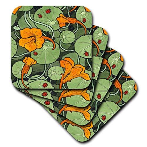 (3dRose Art Nouveau Orange Nasturtium Flowers with Ladybirds - Ceramic Tile Coasters, Set of 4 (CST_216475_3))