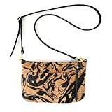 Black Ink Printed Cork Crossbody Purse with Detachable Strap by Spicer Bags