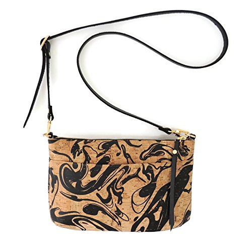 Black Ink Printed Cork Crossbody Purse with Detachable Strap by Spicer Bags by SPICER BAGS