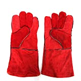 NQFL Glove Protective Gloves Leather Insulation Wear-resistant Welder Gloves 5.5inch,Red-OneSize