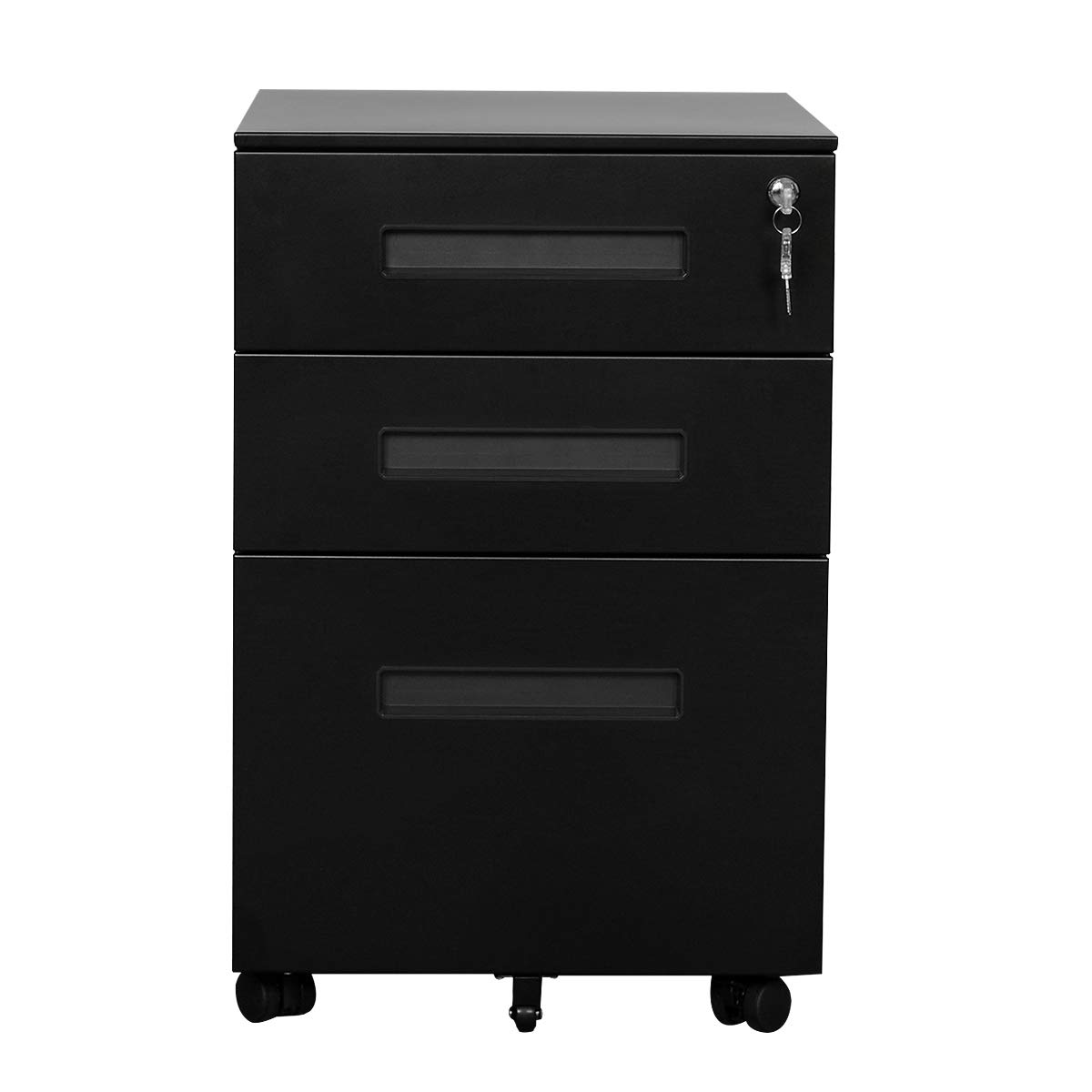 DEVAISE 3-Drawer Metal Mobile File Cabinet with Lock Keys (Black & Black)