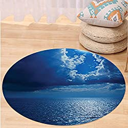 VROSELV Custom carpetOcean Decor Collection Romantic Full Moon between Clouds Over a Quiet Sea Picture Bedroom Living Kids Girls Boys Room Dorm Accessories Navy Blue White Round 24 inches