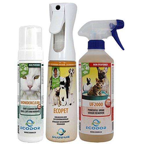 ECODOR - Haustierpaket 1x UF2000 0,5l Uringeruchsneutralisierung, 1x EcoPet 0,3l Geruchs- und Fleckenentferner, 1x EcoPet Wunderschön Fellreiniger 0,2l trocken Shampoo