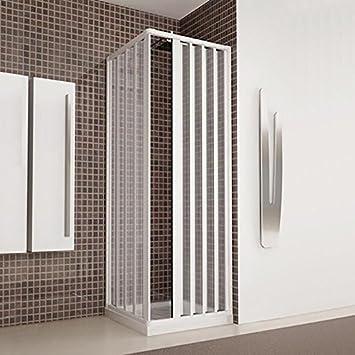Cabina de ducha angular y con puertas plegables de acrílico - Dimensiones: 80 x 80 cm (reducible de 80 a 70 cm) - Color: blanco: Amazon.es: Bricolaje y herramientas