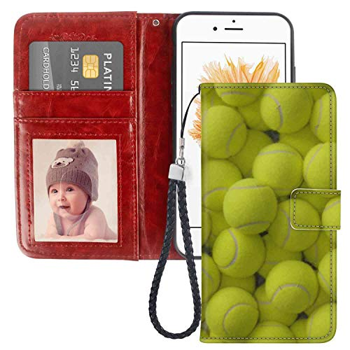 iPhone 5 (2012) iPhone 5S (2013) iPhone SE (2016) (5.5 Inch) Wallet Case Tennis Ball for -