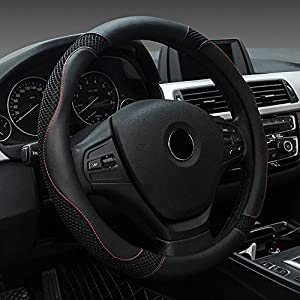 FREESOO Steering Wheel Cover Leather Universal 38cm/15 inch Car Anti-slip Wheel Sleeve Protector Interior Accessories…
