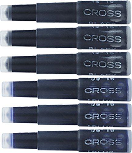 Cross Fountain Pen Ink Cartridge - Blue/Black, 6 per card (8924)