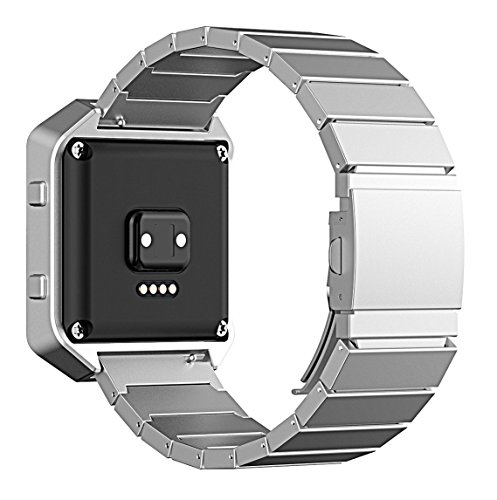 Fitbit Blaze Band, No1seller Silver Stailess Steel Bracelet Band Strap Wristband for Fitbit Blaze Smart Fitness Watch - for Both Large and Small - Silver Bans