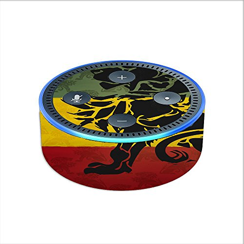 Skin Decal Vinyl Wrap for Amazon Echo Dot 2 (2nd generation) / Rasta Lion Africa