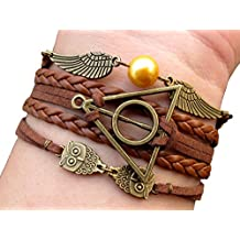Legendary Bracelet Brass Owls Deathly Hallows and Snitch Bracelet Brown Leather Braid and Rope Bracelet