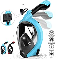 HENGBIRD Tauchmaske müheloses Atmen mit Antibeschlag Schwebenball-Antileckage Silikon-Dichtlippe 180° Sichtfeld Aktivgopro Halter Schnorchelmaske für Kinder Erwachsene (Blau L/XL)