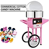 OrangeA Cotton Candy Machine Commercial Cotton Candy Machine Candy Floss Maker 1030W Electric Cotton Candy Maker Stainless Steel Pink (Cotton Candy Machine with Cart & Cover) review