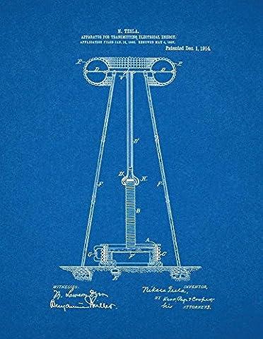 Tesla Apparatus For Transmitting Electrical Energy Patent Print Art Poster Blueprint (8.5