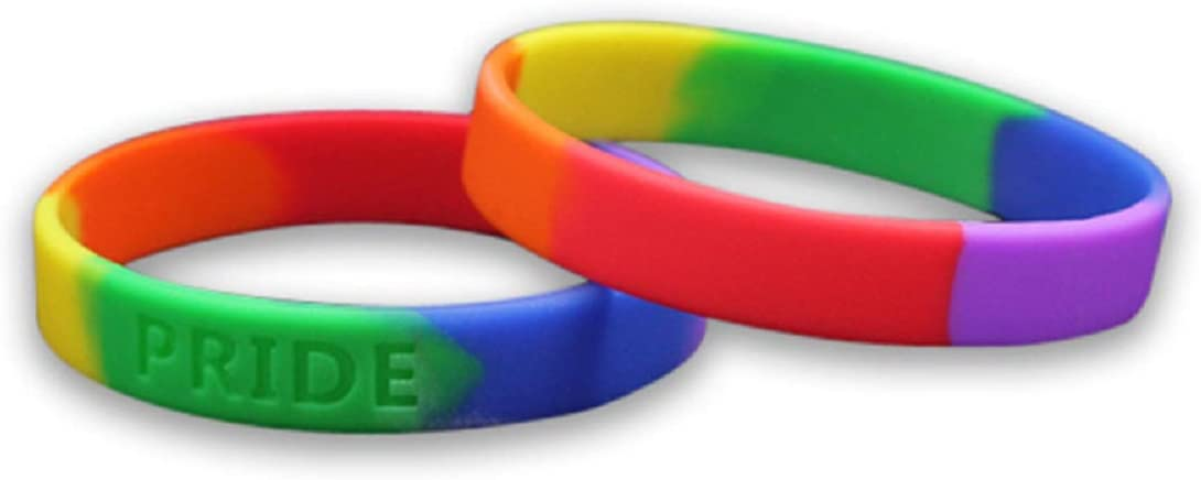 Rainbow Silicone Pride Flag Wristbands - Adult Gay Pride Bracelets for Men & LGBT Bracelets for Women (Pack of 50)