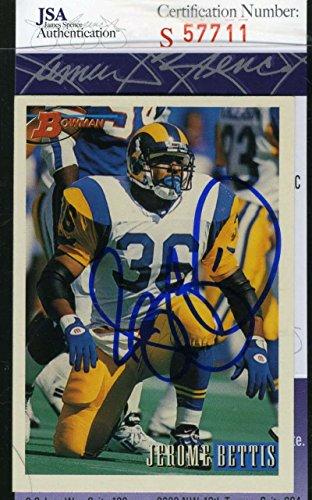(JEROME BETTIS JSA COA Autograph 1993 BOWMAN Rookie Authentic Hand Signed )