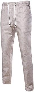 Saoye Fashion Pantaloni Larghi da Uomo Estivi da Uomo Pantaloni Diritti Normali Giovane da Uomo Pantaloni con Coulisse Tinta Unita Vita Elastica con Tasche Pantaloni Lunghi 3 Colori Asia