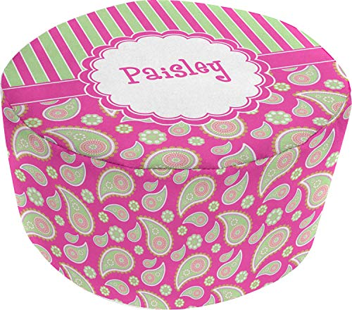 ac40ffd0249 YouCustomizeIt Pink   Green Paisley and Stripes Round Pouf Ottoman  (Personalized)