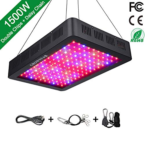1500W LED Grow Light, Growstar Double Chips LED Grow Lamp Full Spectrum for Hydroponic Indoor Plants Flower and Veg with UV IR Daisy Chain - Mh Light Grow Wire