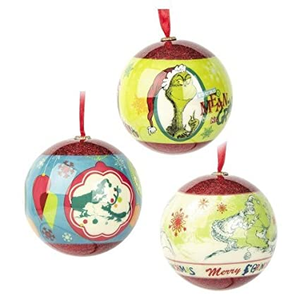 dr seuss grinch christmas tree ball ornament decorations 3 pack by hallmark - Grinch Christmas Decorations Amazon