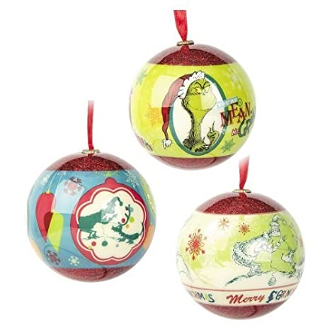 dr seuss grinch christmas tree ball ornament decorations 3 pack by hallmark