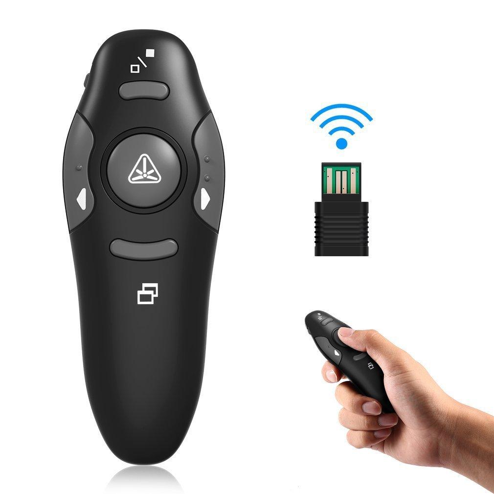 Presentatore Wireless Puntatore a Laser Rosso per Presentazioni con Telecomando RF per Cambio Pagina, Mini Ricevitore USB da 2.4GHz e Tasti di Scelta Rapida per Presentazione Powerpoint Tumdem
