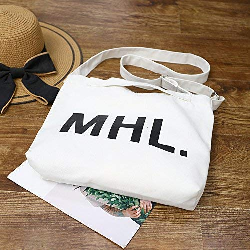 WHXYAA Letter Canvas Shoulder Bag Large Capacity Fashion Casual Shopping Bag Ladies Tote Bag Simple Atmosphere