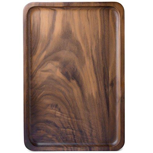 Bamber Wood Rectangular Serving Trays, Medium, Black (Wood Trays)
