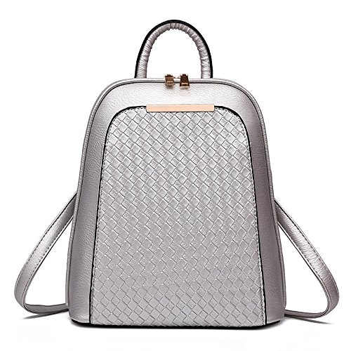 Silver 13 Backpacks 26 Pu Knitting X Girl Cm Wewod School Women X Casual Pattern School Backpacks Leather Bag Solid Fashion lxhxw Color Type 30 aqnwg5R6