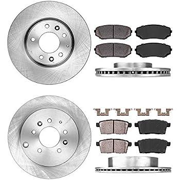 2 Black Coated Cross-Drilled Disc Brake Rotors Front Kit Fits:- C300 C230 C250 5lug 4 Semi-Metallic Pads Heavy Tough-Series