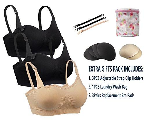 bfda10031d8 iLoveSIA 3pack Nursing Bra Nude+Black+Light Pink Size L Fit 36BC 34C 32D  30DD 38A 40A 30DDD - Buy Online in Oman.