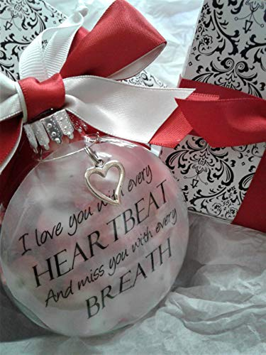 (Memorial Ornament Sympathy Gift Love You with Every Heartbeat w/Red)