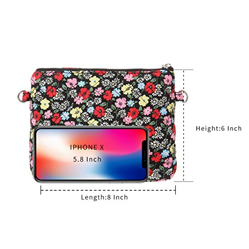 Canvas Cell Women Floral Pattern Wallet Black2 Phone Bags Purse Crossbody For Small BqI1gg