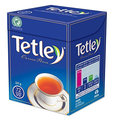 Tetley Tea, Orange Pekoe, 72-Count Tea Bags {Imported from Canada} (Drawstring Bag Canada)