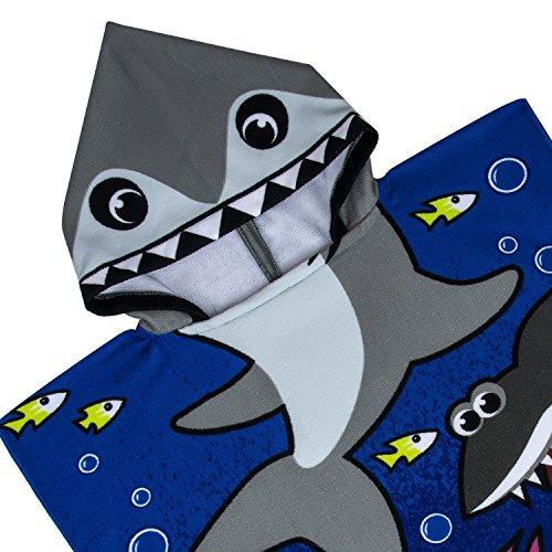 VOBCTY Microfiber Kids Hooded Bath Beach Pool Poncho Towel 2424Inch(Tiger Shark) by VOBCTY (Image #3)