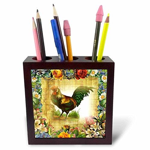 3dRose Image of Country Rooster On Flowered Old Postcard Tile Pen Holder, 5