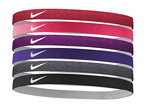 Women's Nike Printed Headbands Assorted 6 PK Red/Fusion Red/Purple Size One Size - 6 Fusion Red
