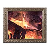 Trademark Fine Art Fireplace by Kurt Shaffer, Gold Ornate Frame 11x14-Inch