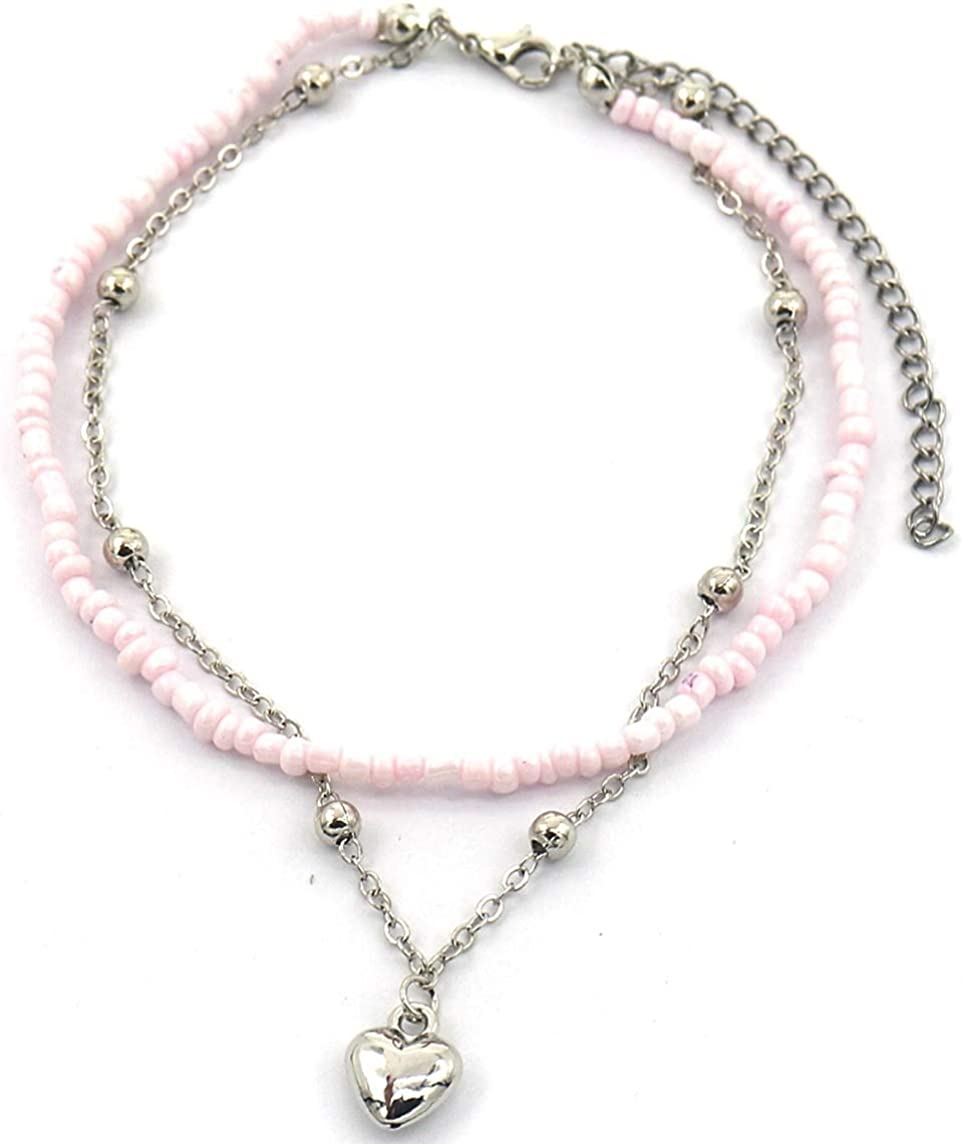 Dielay Womens Anklet 2 Layers Beads Heart Anklet Length Adjustable 24-31 cm